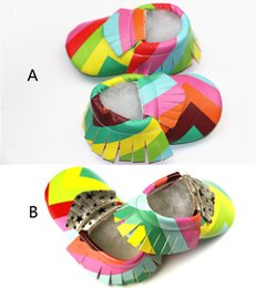 Wholesale Leather Bow Top Wholesale - 2 Color Baby Rainbow moccasins baby moccs girls bow moccs 100% Top Layer soft leather moccs baby booties toddler shoes B001