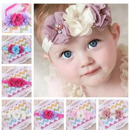 Wholesale Chiffon Hair Pearl - 2015 Baby girls Chiffon Flower Headbands Kids girl Handmade Pearls headwraps infant babies hairbands hair accessories