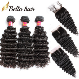 Wholesale Full Weaves - 7A Lace Closure with Hair Bundles Brazilian Hair Weave Weft Black Color Deep Wave Wavy Human Hair Extensions Full Head Free Shipping Bella