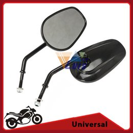 Wholesale Mirrors For Sportster - Motorcycle Mirrors Black Oval 8mm Thread Rearview Side Mirror For Harley Davidson Road King Classic SOFTAIL XL XL883 SPORTSTER order<$18no t