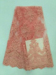 Wholesale Pink Tulle Fabric Netting - French Lace Fabrics 2017 Hot sale Cheap Organza Nigerian Pink net Laces Fabric High Quality African Tulle Lace Fabric For Women