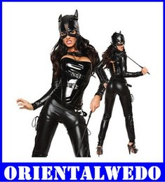 Wholesale Sexy Pvc Adult Costume - Adult Costume Black Catwoman Five Piece Sexy Hot Cat Faux Leather Costume new for women leather Teddies bodysuit free shipping