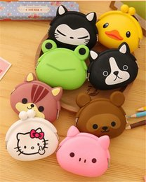 Wholesale Cute Mini Wallets Keys - hot sale 15 designs candy Cute Mini key Wallet bag Silicone Coin Purse lovely Animals Jelly Silicone Coin bag D430