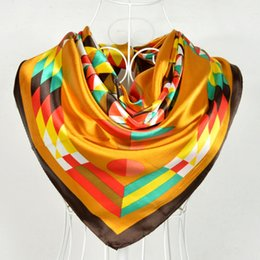 Wholesale Colorful Scarves Muffler - Wholesale-Wholesale Women Colorful Pattern Silk Scarf Shawl Printed Hot Sale Gold Square Scarves Muslim Female Satin Scarf Winter Muffler