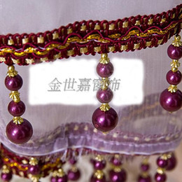 Wholesale Pearls Crystal Curtains - Wholesale-Lace curtains   lob edge spike tassel   crystal beads   decorative three pearls 1.56 yuan   m