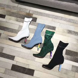 Wholesale Knee High Knit Boots - 2017 autumn winter new personality heel lighter style, high heel knit boots, short boots, long boot optional
