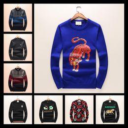 Wholesale Rhinestone Garter Belt - 2017 SRUILEE 2017 Autumn Winter New Luxury Fashion Women Sweater Pullover Tiger Head Patchwork Striped Jumper Top Runway Brand