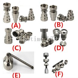 Wholesale Titanium Nail Infinity - hot sale Universal Infinity Domeless Titanium Nail 14mm & 18mm Adjustable Male or Female Oil Gr2 domeless titanium nails for Glass Pipe Bong