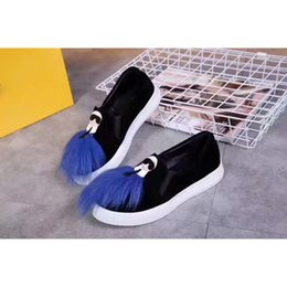 Wholesale Trend Casual Black Shoes - 2017Fendi New style female shoes Casual shoes Cartoon character and blue plush decoration Personality trend Outdoor shoes