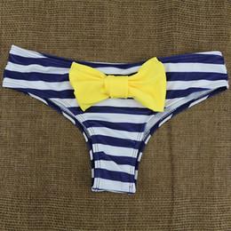 Wholesale Y Thongs Women - FG1509 New Arrival Lovely Y shape Sexy Big Bow Bikini Bottom Thong women Stripe Tanga Panties Wave Pattern Bather Swimsuit Underwear