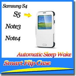 Wholesale Smart Wake S4 Case - SGP Shockproof Slim Armor Hybrid Automatic Sleep Wake Smart Flip Case+IC For Samsung S5 S4 Note 3 Note 4 DHL 65pcs with package