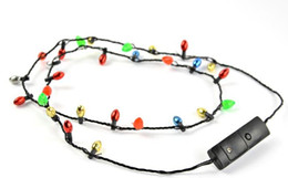 Wholesale Flashing Necklace Christmas - Festival Led Necklace Necklaces Flashing Beaded Light Toys Christmas gift flashing necklace christmas santa DHL Free 1000pcs
