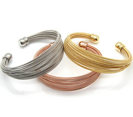 Wholesale Stainless Steel Cable Bracelets - Fashion Gifts For Mother New Design Style Women Bracelet stretch Stainless Steel Multi-layer Rope Twisted Cable Bangle inside diameter 58mm