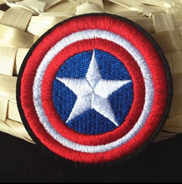 Wholesale Captain Iron Patch - 2.7 inch HOT SALE! Captain America Iron On Patches Made of Cloth Appliques Guaranteed 100% Quality sew on patch GP-006
