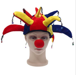2019 clown dekorationen requisiten Halloween Clown lustige Clown Requisiten Kopfbedeckung 13 Winkel Clown HAT + Nase Maskerade Dekorationen JIA495 rabatt clown dekorationen requisiten