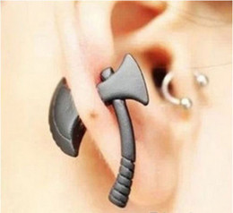 Wholesale Earing Piercing - New Fashion Jewelry Stud Earrings Charm Gift Earing Punk Cool AX Hatchet Mens Womens Stud Earring Piercing Jewelry Harajuku 3D Axe Ear Ring