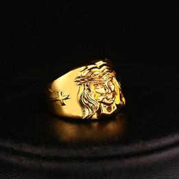 Wholesale Ring Cross Gold - Size 9 10 11 HIP HOP Men's Cross Jesus Ring 24K GP Yellow Gold Ring for Men