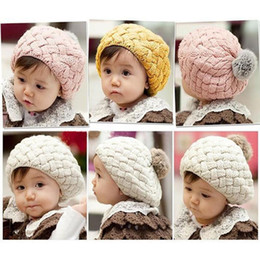Chapéu de boina bebê tricô on-line-Miúdos Das Meninas Do Bebê Handmade Crochet Tricô Beret Hat Cap Bonito Quente Beanie 4 Cores