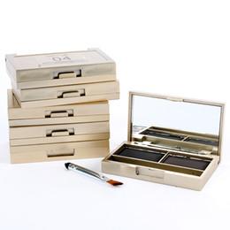 Wholesale Eye Shading Brush - Wholesale- Eyebrow Powder Eye Brow Palette Cosmetic Makeup Shading Kit with Brush Mirror