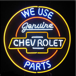 "Wholesale chevrolet neon signs - New Genuine Chevrolet Parts Neon Sign.jpg Glass Neon Sign Beer Neon Sign Neon Beer Bar Light Sign 17""-26"""