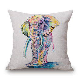 Wholesale Zebra Home Decor - Vintage Animal Elephant Zebra Print Cotton Linen Decorative Pillowcases Sofa Waist Throw Cushion Cover Home Decor 45*45cm Pillow Covers