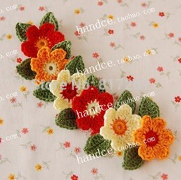 Wholesale Crochet Flower Leave - 2015 new arrival 12 pis lot crochet headbands with flower and leaves for baby girl hair decoration accessories for women turban