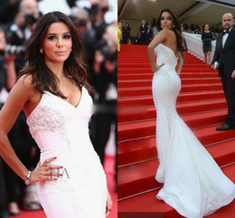 Wholesale Eva Gowns - 2016 Sexy Eva Longoria In Red Carpet Celebrity Dresses Mermaid Sweetheart Backless Sweep Train Cannes Evening Gown Formal Prom Pageant Dress