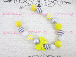 Wholesale chunky bow necklaces - Gray and Yellow Children's, Chunky Necklace, Bow , Kids , Beaded Gumball , Child Girls Necklace CB168