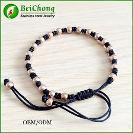 Wholesale Macrame Bracelets Beads - FREE SHIPPING 2015 Summer Trendy 24K Gold Round Beads Braided Macrame European American Weaving Bracelets For Men BC-007