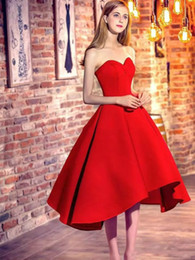 Wholesale strapless maternity bridesmaid dresses - Perfect High Low Homecoming Dresses Satin Sweetheart 2018 Satin Club Wear Sleeveles Party Prom Dress Graduation Bridesmaid Dresses Evening