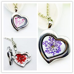 Wholesale Tin Cans For Gifts - Dried Flower Heart pendant floating locket charms necklace Can open Mix style Silver plated multicolor pendant for woman gift FL11