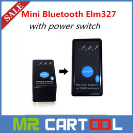 Wholesale Power Windows Honda - Elm327 Super Mini Bluetooth ELM327 OBDII Scanner with Power Switch OBDII OBD2 Support Works on Android Symbian Windows Free shipping