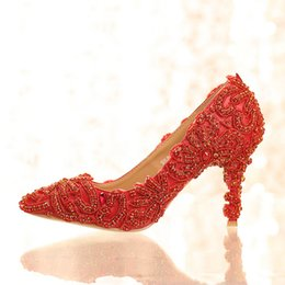Wholesale Bright Color Shoes - 2016 New Design Bright Wedding Shoes Red Color Rhinestone Formal Dress Shoes Lady Party Prom High Heels Pointed Toe Women Shoes