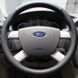 Wholesale Ford Focus Wheels - Case for Ford old Focus Sequins style Steering wheel cover Genuine leather DIY Car styling Interior decoration Leather cover