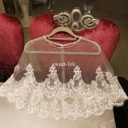 Wholesale Ivory Lace Wedding Coat Dress - New Arrival 2017 Lace Bridal Wraps Custom Made Cheap Jackets Appliqued Bride Coat For Wedding Dresses Fast Shipping Bridal Accessories