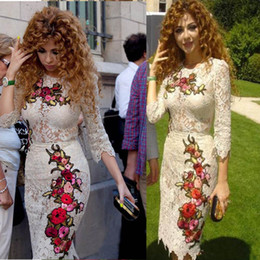 Wholesale Silver Slim Prom Dresses - Slim Myriam Fares Sheath Celebrity Party Dresses Arabic Embroidery Crew Neck Full Lace Short Prom Gowns with Long Sleeves Chinese Cheongsam