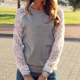 Wholesale Long Puff Sleeve Casual Shirts - Hot Sale Ladies' Spring Autumn Casual Cotton Lace Long Sleeve T Shirt Loose O Neck Patchwork Cotton Blouse