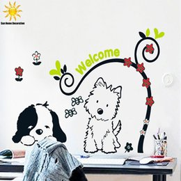 Wholesale Vinyl Autocollant - Little Dog Cartoon Children Wall Sticker Bedroom Decor Wall Stikers For Kids Room VinRl Household Products Autocollant Mural