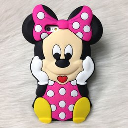 Wholesale Note2 3d Cases - 3D Cartoon Mickey Minnie Monster Silicone Mobile Phone Case Back Cover For iPhone6 6plus 5S 4S Samsung Galaxy S4 S5 S6 Note2 3 4 3D Case Hot