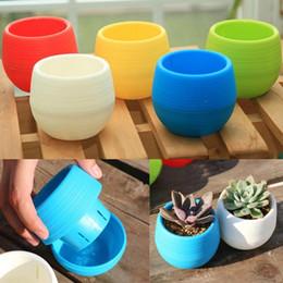 Insieme all'ingrosso del vaso online-2 pz / set all'ingrosso mini vaso di fiori in plastica pianta grassa vaso di fiori per la decorazione ufficio a casa 4 colori forniture da giardino y1
