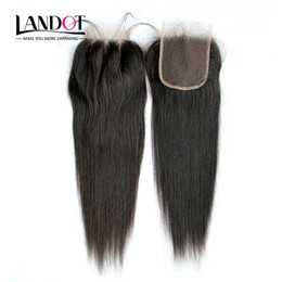 Wholesale Cheap Closure Hair - 7A Brazilian Straight Lace Closure 4x4 Size Cheap Human Hair Top Lace Closures Pieces Free Middle 3 Way Part Closure Natural Color Dyeable