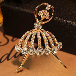 Wholesale Gifts For Ballerinas - 12Pcs lot Ballet Dancer Ballerinas Brooches For Women Girls Hijab Pin Up Clips Scarf Hats Shoulder Corsages Bouquet Brooch