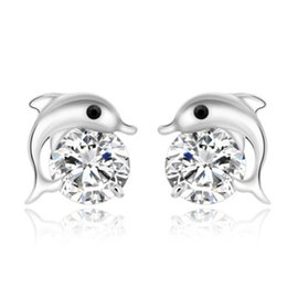 Wholesale Dolphin Silver - ORSA Free Shipping 925 Silver Earring with AAA Austrian CZ Crystal Dolphin Earrings for Women Jewelry PE09