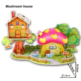 Wholesale Paper House Models - New Arrival Hot Cute Educational 3D Model Mushroom House Puzzle Jigsaw Crafts Children Kids Toy Gift