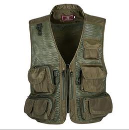 Wholesale Tactical Hunting Vests - Summer Outdoor Tactical Camping Mesh Vest Men multi-pocket Hunting Hiking Vest Sport Photographer Waistcoat Sleeveless Jacket