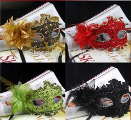 Wholesale Gold Masquerade Masks Flowers - Wholesale - 2014 New Exquisite cheap women sexy Mask Masquerade Lily Flower Princess Mask Purple Red Black Gold Pink Silver White MoreColor