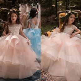 Wholesale Birthday Parties Pictures - Pink Blue Ball Gown Flower Girl Dress Sequins Flowers Tiered Floor Length Jewel Floor Length Lace Applique Prom Party Girls Pageant Dress