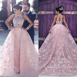 Wholesale Full Prom Dresses - 2018 Glarmorous Pink Overskirt Prom Dresses High Neck Sleeveless Full Applique Lace Pageant Evening Gown Vestido de Festa