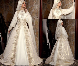 Wholesale High Collar Long Cloak - Modest Clothing 2015 Arabic Muslim Wedding Dresses With Long Sleeves High Neck Gold Embroidery Beads Luxury Bridal Ball Gown With Cloak