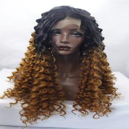 pelucas delanteras del cordón Peluca rizada Peluca sintética del pelo de Ladys de la mejor calidad Peluca sintética del frente del cordón sintético de la onda del cuerpo de dos tonos Negro / Rubio para la mujer negra desde fabricantes